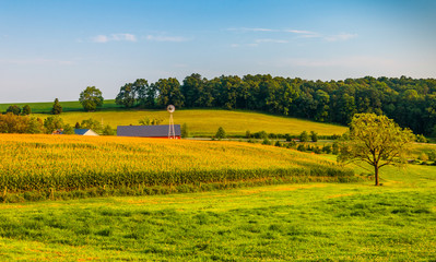 Farm and rollings hills in rural York County, Pennsylvania.
