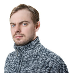 Portrait of a man in sweater. Isolated on white.