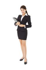 full length young businesswoman holding folder