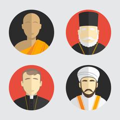 People portraits. Avatar religion. Flat design