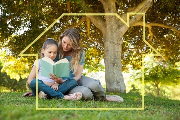 Composite image of mother and daughter reading a book at park