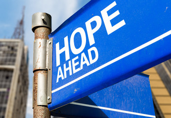 Hope Ahead blue road sign