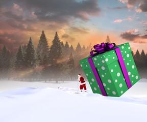 Composite image of santa delivering large gift