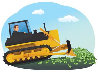 Businessman with bulldozer raking up money heap