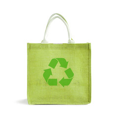 Green hessian or jute shopping bag with recycle or reusable sign