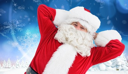 Composite image of happy santa lying and relaxing
