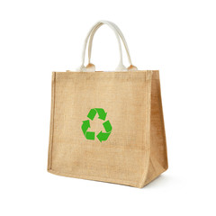 Hessian or jute shopping bag with recycle or reusable sign