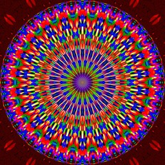 Colorful Mandala circle on a red background.