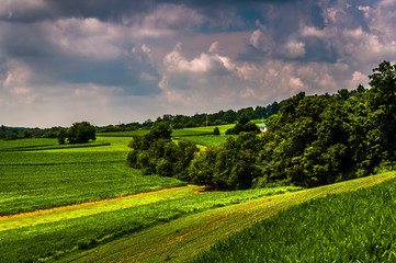 Farm fields and hills in  rural Southern York County, Pennsylvan