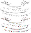 Doodle tree branches and party flags - 75074608