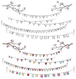Doodle tree branches and party flags
