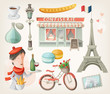 Set of elements and decorations from Paris, France - 75075436