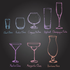 Hand drawn different kinds of glasses.