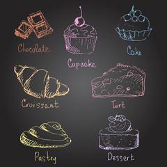 Confectionery. Hand drawn illustration.
