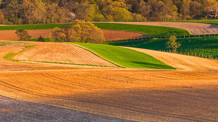 Farm fields and rolling hills of Southern York County, Pennsylva