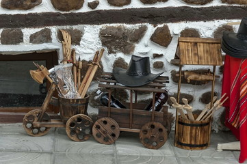 Street sale of traditional gift stock  in ancient Melnik town
