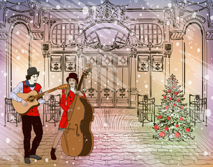 Christmas street performers in a snowy city