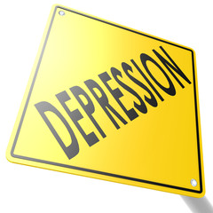Road sign with depression