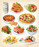 Fototapety Set of traditional food icons.