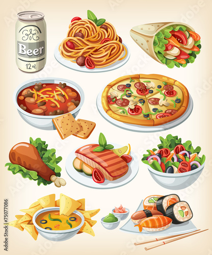 Set of traditional food icons. - 75077086