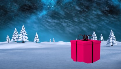 Composite image of pink present