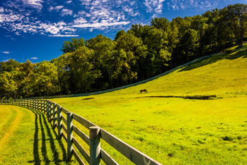 Fence and beautiful farm field in York County, Pennsylvania.