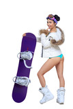 Sexy dressed woman with snowboard