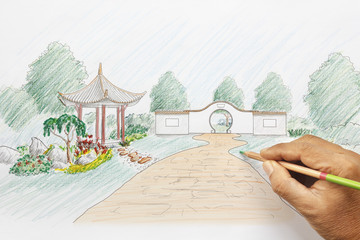 Landscape architect design chinese garden plan