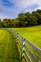 Fence and farm field in rural York County, Pennsylvania.