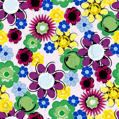 floral seamless pattern background, with strokes and splashes