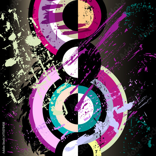 Aluminium Vormen abstract circle artwork, retro / vintage style, vector