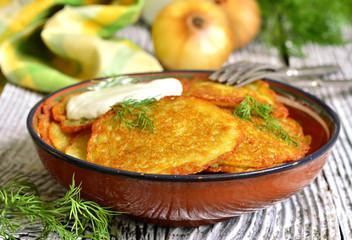 Draniki -potato fritters,traditional dish of Belarusian cuisine.