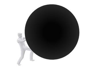 Person pushing big ball up