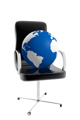 Office chair and earth globe