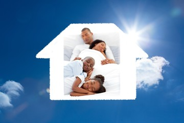Composite image of jolly family sleeping