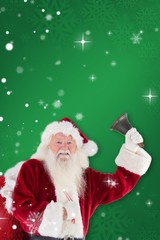Composite image of happy santa ringing a bell