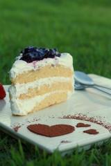 Cake Blueberry cream, milk, vibrant and delicious.
