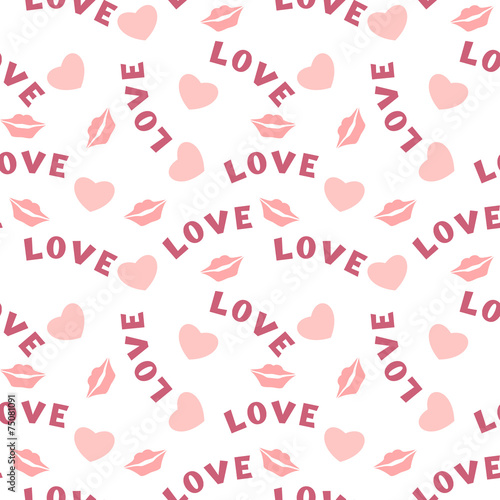 Staande foto Kunstmatig Seamless pattern with hearts lips and inscription love on white