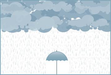 umbrella in the pouring rain, autumn rain