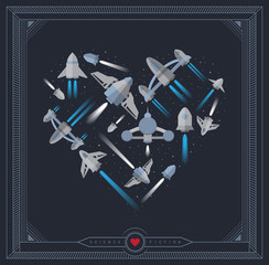 Science fiction poster - heart made of spaceships. EPS8.