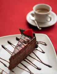 Sacher cake with espresso coffee