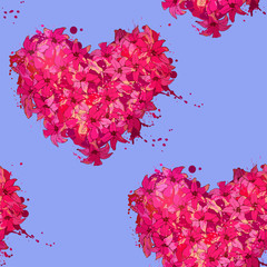 seamless patterh of hearts made of flowers