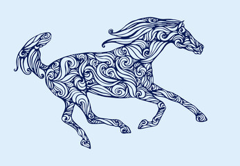 silhouette of running horse fillid with abstract pattern