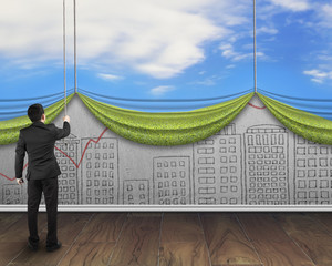 businessman pull open sky curtain covered cityscape doodles conc