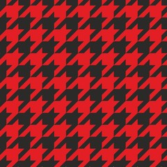 Houndstooth vector tile black and red pattern background