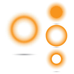 Set of abstract halftone design elements, circle shape.