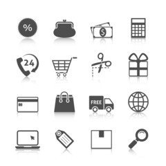 Shopping Icons Gray with Reflection