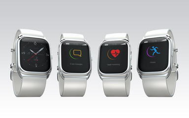 Stylish smart watches with different apps on gray background
