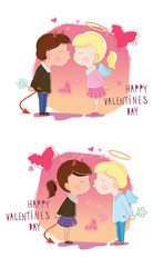 Valentine's Day. Girl and boy kisses. Vector illustration