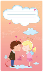 Valentine's Day card for girl and boy kissing part two